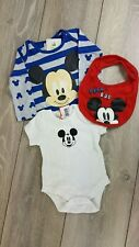 3 Piece Official Disney Mickey Mouse Baby Boy Top Vest & Bib 0-3  Mnth B523-5