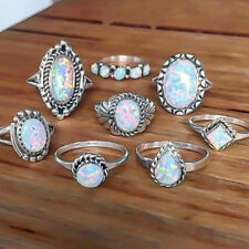 8Pcs Vampire Diaries Vintage Silver Plated Opal Wedding Engagement Glamour Ring