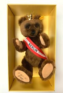1985 STEIFF BERLIN BEAR GOLD PLATED CROWN #0251/34 SIGNED WEST GERMANY TAGS BOX