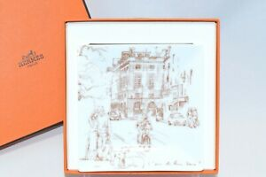 Hermes L'AIR DE PARIS 2006 mini Plate Pottery Porcelain Tray Townscape VIDE POCH