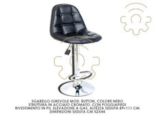 Stool Revolving Button Black Lift Gas 89 ÷ 111 CMS Sitting 52 x 44 CMS Steel