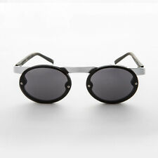 Black 90s Oval Steampunk Sunglass with Floating Browline Silver Temples- Oswald