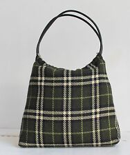 Burberry Check Tartan Wool Fabric & Leather Handle Tote Bag Large Size