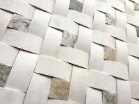 Wavy Champagne Limestone 2x4 with 2x2 Antique Stone Mosaic Wall Tile Backsplash