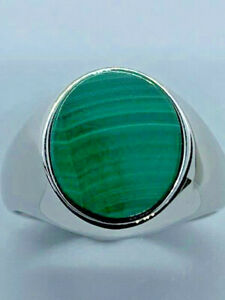 Sterling Silver Men's/Boys Malachite Oval Signet Ring, Size L (7540)