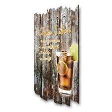 Cuba Libre Cocktail Schild Rezept Shabby aus Holz Wand-Deko für Zuhause 30x20