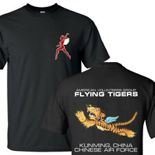The Flying Tigers Chinese Air Force American Fighter Pilot BLACK T-SHIRTS S-3XL