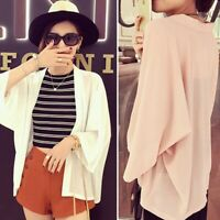 Women's Solid Shawl Vintage Cover Up Kimono Cardigan Chiffon Coat Jacket Blouse