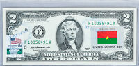 US Currency Notes Two Dollar Stamp Money $2 Bill Uncirculated Flag Burkina Faso