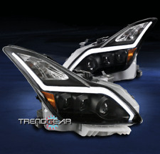 FOR 2008-2015 G37/Q60 2DR SEQUENTIAL LED DRL BAR BLACK PROJECTOR HEADLIGHTS LAMP