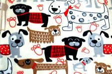 NEW PRINT LARGE & SMALL BLACK/GRAY/TAN DOGS ON BEIGE FLEECE MATERIAL 2 YD 60x72""