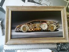 Huracan Art Steampunk Silver Wood Frame Working Clock Approx 14x9 inches