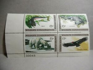 SCOTT # 1427-1430 WILDLIFE CONSERVATION 8 CENT STAMP - PLATE BLOCK - MNH