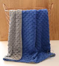 *Special* Dark Blue Grey Dot Minky Baby Blanket Stroller Pram Crib Shower Gift