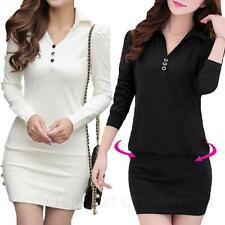 Cotton Blend Patternless Long Sleeve Shirt Dresses