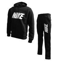 Mens NIKE Full Tracksuit Set Warm Up Fleece Black Loose Bottoms Big Logo