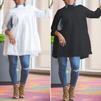 Womens Long Sleeve Blouse Oversize Vintage Basic T Shirt Pleated Top Tunic Tee