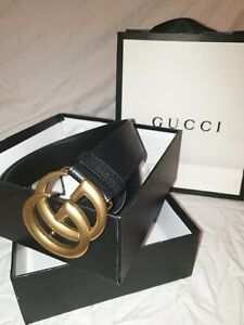 Men's Gucci Marmont  Belt W/ Gold GG interlocking 95cm Black & Gold