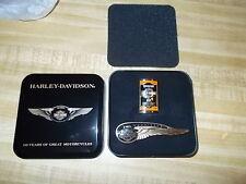 2 PIN'S HARLEY DAVIDSON 110th Winged Anniversary/ HARLEY DAVIDSON OIL CAN PIN