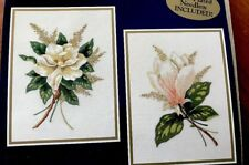 Pair Of Magnolia Flowers Crewel Embroidery Kit To Complete