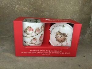 Wrendale Designs Family Christmas robins wren bone china mug & coaster set