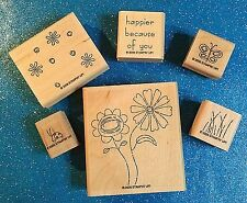 Stampin Up Because Of You ~ 2006 ~ Lot of 6 ~ Wood Rubber Stamps ~ RETIRED ~ EUC