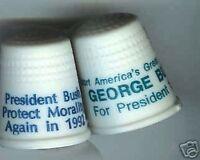 2 George BUSH 1988 + 1992 PRESIDENT campaign THIMBLES