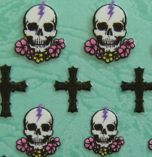 Nail Art 3D Sticker Halloween Skull w/ Flower & Black Cross 23 pcs per sheet