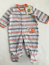 New Little Me Baby Boys Size 6M One-Piece Footie Helicopter Stripes Gray