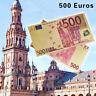 WR  €500 Euro Banknote Geldschein in Gold mit Farbe Farbiger Goldschein