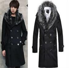 Mens Wool Blend Overcoat Jacket Double-breasted Faux Fur Collar Coat Winter new