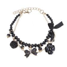 Women Chic Crystal Rhinestone Enamel Camellia Rose Flower Bowtie Bracelet Chain