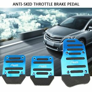3x Alloy Non-Slip Car Gas Brake Foot Pedals Pad Cover Accelerator Blue Universal