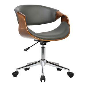 Armen Living Geneva Office Chair, Chrome/Gray/Walnut Veneer Arms - LCGEOFCHGREY