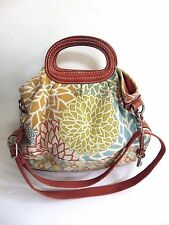 Fossil Shoulder bag Tote Shopper CANVAS FLORAL PURSE W LEATHER TRIM ZB 2908