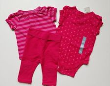Girls Baby Gap Pink Stars Stripes Knit Shirts and Leggings Outfit Lot 6 12 18