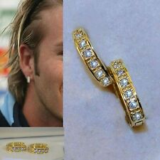 Mens New Design Yellow Gold Filled Sim Diamonds Hoop Earrings Aa Quality Uk