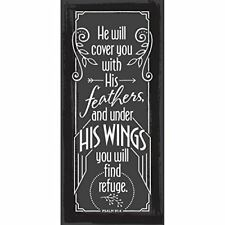 "He Will Cover You With His Feathers Simple Strength 5 1/2"" x 12"" Wood Plaque"