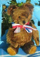 "VINTAGE TEDDY BEAR RED BROWN MOHAIR 14"" KNICKERBOCKER GUND ANTIQUE TOY GROWLER"