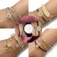 Fashion Women Jewelry Set Rhinestone Bohemian Beaded Chain Bangle Bracelets Gift