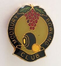 Modbury Bowling Club Badge Pin Vintage Grape Vine Lawn Bowls (K1)