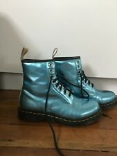 Dr Doc Martens Womens Vegan Leather 8-Eye Combat Boots Size 9 Blue Black 25279