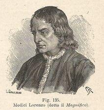 B1403 Lorenzo Medici detto il Magnifico - Incisione antica del 1928 - Engraving