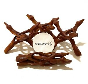 "NessaStores Carved Tripod Wood Stand Holder 6""  ( 3 pcs ) #JC-46"