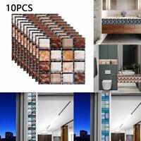 3D DIY Tile Stickers Bathroom Mosaic Sticker Self-adhesive Wall Decor Home 10PCS