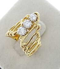 Custom Solid 14K Yellow Gold 1 Ct Journey 3 Genuine Diamond Wedding Ring VS2 Si2