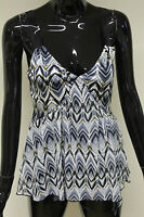 Morgan De Toi womens silver/blue v-neck ribbon strap cami vest top size XS - M