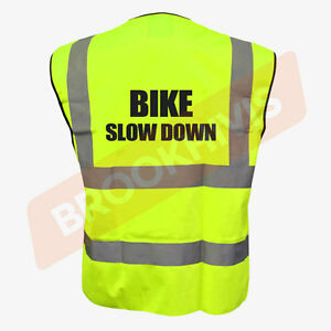 BIKE SLOW DOWN YELLOW HI VIZ VIS CYCLE WAISTCOAT VEST TABARD SAFETY