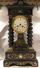 Large Antique French Portico Clock With Ornate Boulle Detail