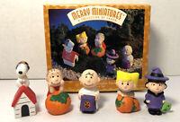 PEANUTS Pumpkin Patch Merry Miniatures Halloween Hallmark 1996 Box 5 Piece Set